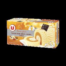 Bûche glacée parfum crème brûlée, caramel, vanille U, 506g