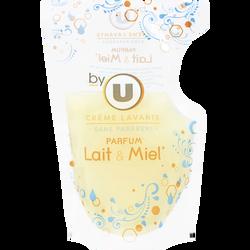 Crème lavante mains parfum lait et miel BY U, recharge de 250ml