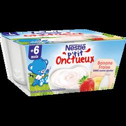 Dessert infantile fraise banane P'tit Onctueux NESTLE, dès 6 mois, 4 pots x100g