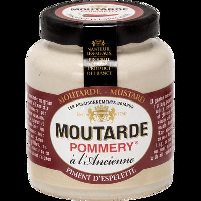 Moutarde piment d'espelette, POMMERY, pot grès & bouchon plastique, 100g