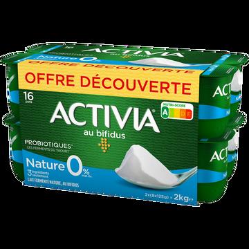 Danone Lait Fermenté Nature Au Bifidus 0% De Matière Grasse Activia, 16 X 125g