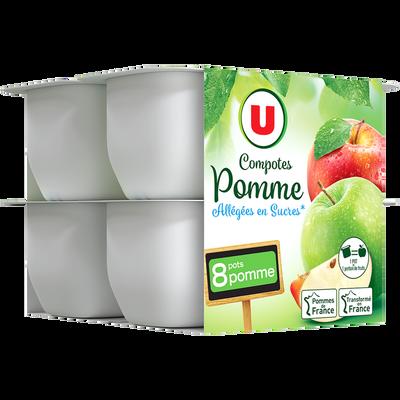 Coupelle allégée dessert de fruits pomme nature U, 8 pots de 100g, 800g