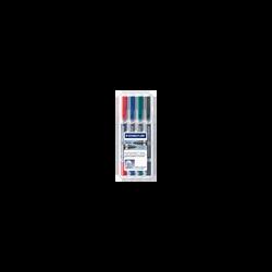 Marqueur Lumocolor Duo STAEDTLER, double pointe 0,6mm/1,5mm, coloris assortis, 4 unités