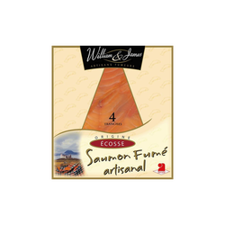 Saumon Ecosse fumé WILLIAM ET JAMES, x4 soit 100g