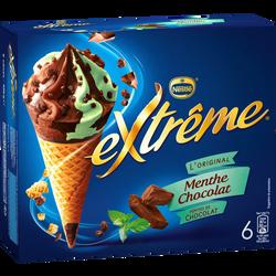 Cônes crème glacée menthe et chocolat EXTREME, x6 soit 426g