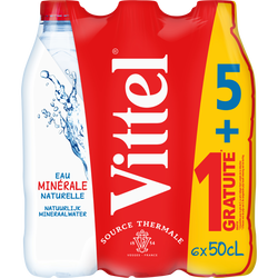 Eau minérale naturelle VITTEL pet 5x50cl + 1 offert