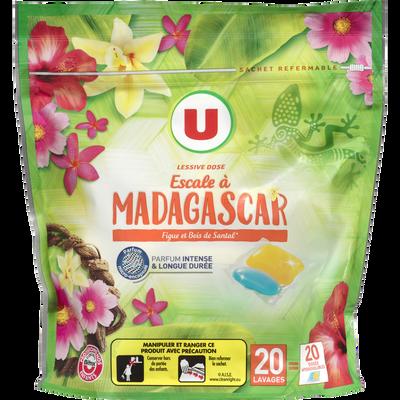 Lessive en dose parfum escale Madagascar U, 20 lavages de 500