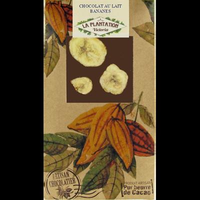 Chocolat au lait bananes, LA PLANTATION BOVETTI, tablette de 80g