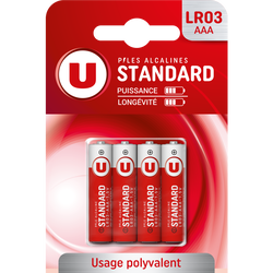 Piles U, Standard, LR03/AAA, 4 unités