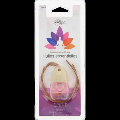 Flacon parfumé Spirit à suspendre, AIR SPA, à base d'huilesessentielles d'eucalyptus, lavande et citron vert