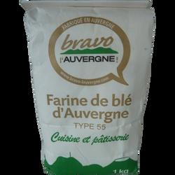 Farine T55 cuisine et pâtisserie BRAVO L'AUVERGNE, 1kg