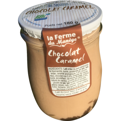 Yaourt entier brassé au lait du jour chocolat caramel LA FERME DU MANEGE, pot en verre de 180g