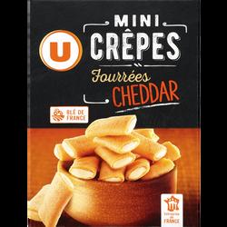 Mini crêpes fourrées au fromage cheddar U, étui de 65g