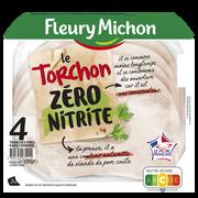 Fleury Michon Jambon Le Torchon Zero Nitrite Fleury Michon, 4 Tranches Fines, 120g