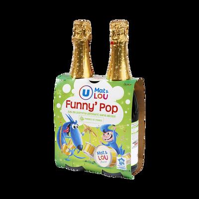 Jus de pomme pétillant Funny'Pop U MAT ET LOU, bouteille en verre 2x75cl