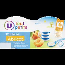 P'tit lacté saveur abricot dès 6 mois, U TOUT PETITS, 400g