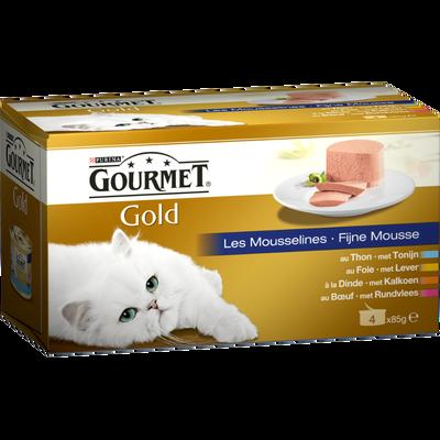 Mousseline pour chat adulte au boeuf, dinde, foie et thon GOURMET Gold, 4 boîtes de 85g