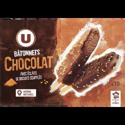 Bâtonnets chocolat U, 10 unités, 370g