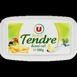Beurre tendre à tartiner demi-sel 80% de matière grasse U, barquette de 250g