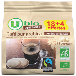 Café Amérique sud Max Havelaar U BIO dosettes 18+4offertes 154g