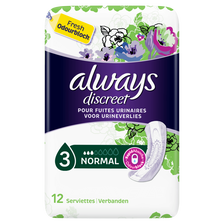 Serviettes incontinence normal, ALWAYS, paquet de 12