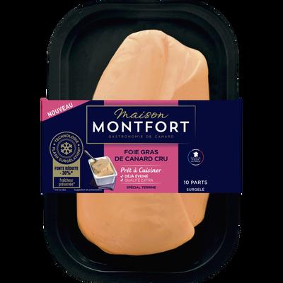 Foie gras de canard cru extra surgelé éveiné MAISON MONFORT, 450g
