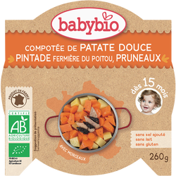 Assiette compotée de patate douce pintade pruneaux BABYBIO, 260g