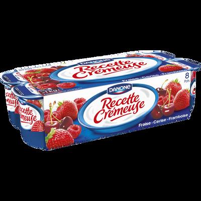 Spécialité laitière aux fruits rouges panache RECETTE CREMEUSE DANONE,8x125g