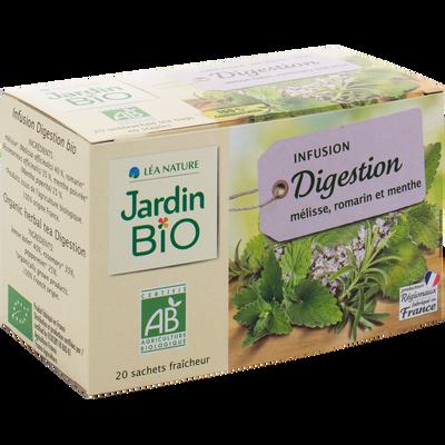 Infusions digestion mélisse, romarin et menthe JARDIN BIO, boîte de 20sachets, 30g