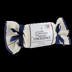 Foie gras canard entier l'excellence cuit au torchon LARNAUDIE, 170g