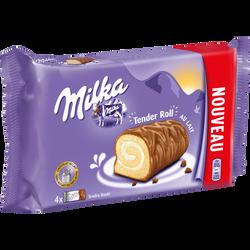Biscuit roulé fourré crème lait enrobé chocolat MILKA, 148g