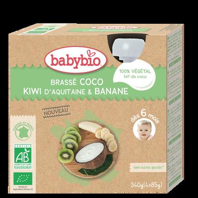 Gourde Lait de coco Kiwi Banane BABYBIO, 4x85g
