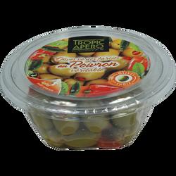 Olive verte farcie au poivron véritable, Barquette 120g