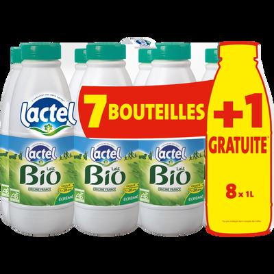 Lait UHT bio écrémé LACTEL, 7x1 litres