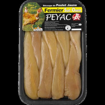 Aiguillette de poulet fermier jaune du Sud-Ouest, PEYAC, France, 8 pièces, Barquette, 240g