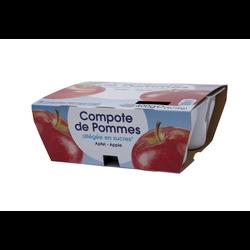 Compote de pommes allégée en sucres, coupelles de 4x100g