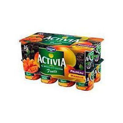 Yaourts fruits mangue et pruneaux ACTIVIA, 16x125g