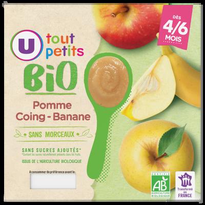 Pots dessert à la pomme, coing et banane U TOUT PETITS BIO, de 4 à 6 mois, 4x100g