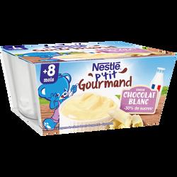 Dessert infantile chocolat blanc P'tit Gourmand NESTLE, dès 8 mois, 4x100g