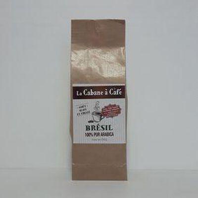 Café moulu Brésil 100% pur arabica LA CABANE A CAFÉ paquet 250g