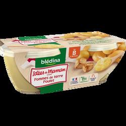 Les idées de maman pomme de terre et poulet BLEDINA, dès 8 mois, 2x200g