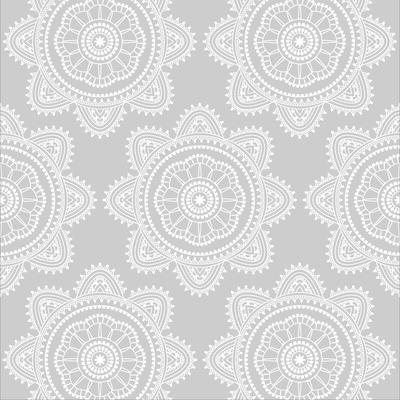 Serviettes, 3 plis, 33x33cm, mandala gray, 20 unités