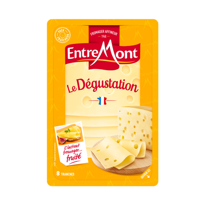 Fromage en tranches au lait pasteurisé Tendre Dégustation, ENTREMONT,2 7% de MG, tranche de 150g