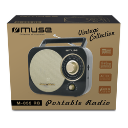 Radio portable MUSE M-055RB noir/or-Tuner analogique FM/MW-Poignée detransport-Entrée auxiliaire-Alimentation secteur/piles