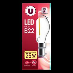 Led U, Mini, ronde, 25w, b22, transparent, lumière chaude