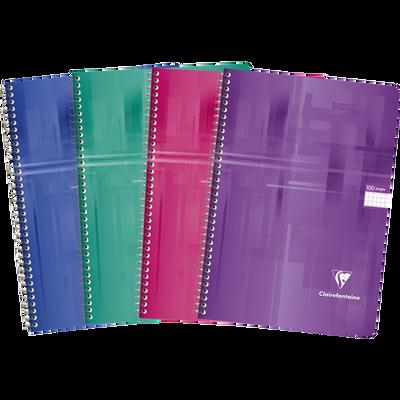 Grand cahier à reliure intégrale CLAIREFONTAINE, petits carreaux,21x29,7cm, 100 pages, coloris assortis