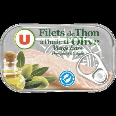 Filets de thon huile d'olive U, boîte de 115g