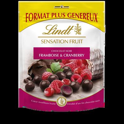 Bouchées chocolat noir framboise & canberry coeur moelleux fruité, LINDT sensation fruit, 160g