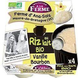Riz au lait BIO au lait frais de vaches, vanille bourbon, FERME D'ANA-SOIZ, 4 pots de 125g