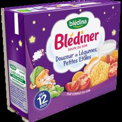 Soupe infantile douceur de légumes et pâtes étoiles BLEDINER, dès 12 mois, 2x250ml